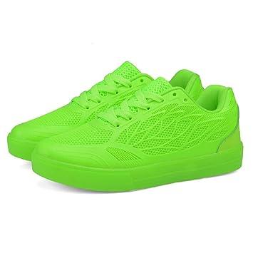 GUFAN zapatillas luminosas Unisex LED, deportivas, blancas, Blanco (verde), 35: Amazon.es: Zapatos y complementos