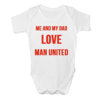 30d84f871 Me And Dad Love MAN UNITED Baby Vest Grow Clothes Bodysuit Top Size Boys  Girls (