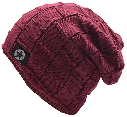 Mens Winter Warm Wool Fleece Lined Knit Beanie Hat Baggy Oversize Slouchy Stocking Skull Cap Ski Hat For Men, 6 Color, Stylish and Soft Beanie (Wine Red) by EASTER BARTHE
