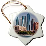 3dRose Danita Delimont - Cities - UAE, Abu Dhabi. Etihad Towers and Emirates Palace Hotel - 3 inch Snowflake Porcelain Ornament (orn_277131_1)