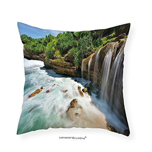 VROSELV Custom Cotton Linen Pillowcase Nature Jogan Beach Waterfall View in Java Indonesia Tropical Seashore Scenery for Bedroom Living Room Dorm Green White and Brown 14