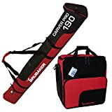 BRUBAKER 'Superfunction Combo Ski Boot Bag and Ski Bag for 1 Pair of Ski up to 190 cm, Poles, Boots and Helmet - Black Red