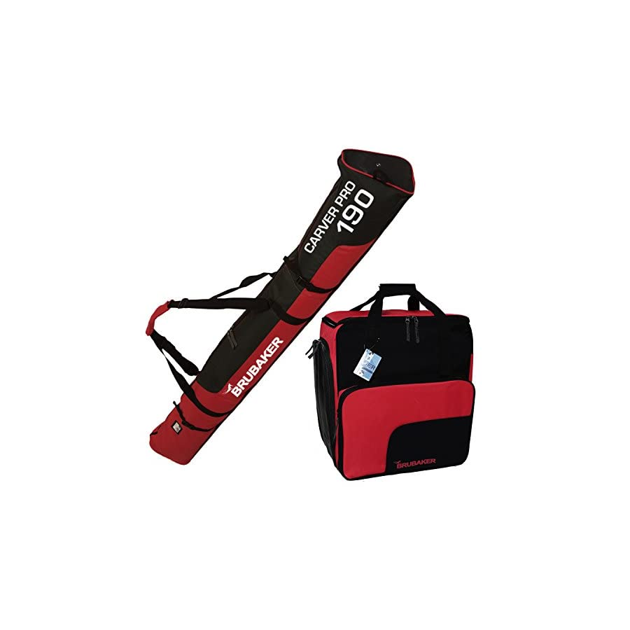 "BRUBAKER ""Superfunction Combo Ski Boot Bag and Ski Bag for 1 Pair of Ski up to 190 cm, Poles, Boots and Helmet Black Red"