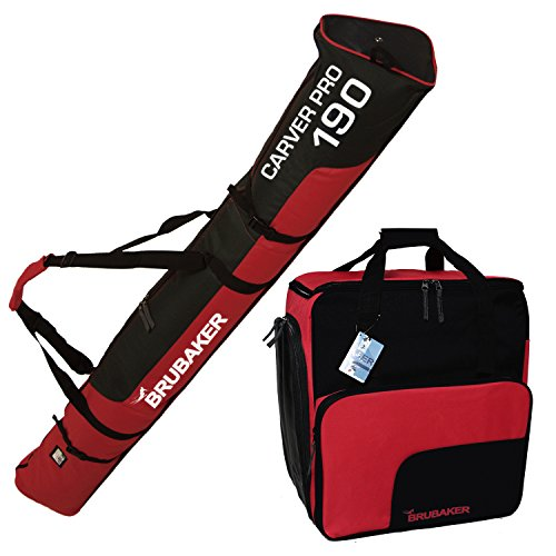 "HENRY BRUBAKER ""Superfunction"" Combo Ski Boot Bag and Ski Bag for 1 Pair of Ski up to 190 cm, Poles, Boots and Helmet Black Red"