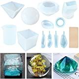 Resin Casting Molds, 12 Pack Silicone Epoxy Resin Craft Molds Includes Sphere/Cube/Diamond/Pyramid/Stone Shapes/Water Drop/Rings for Jewelry Making, with Mixing Cups and Sticks