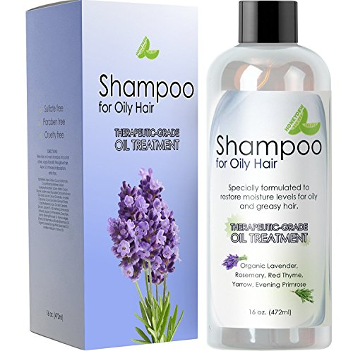 Moisturizing Oily Hair Shampoo - Natural Oily Hair Shampoo for Men and Women with Sensitive Scalp & Greasy Hair – Sulfate Free Keratin Hair Care for Color Treated Hair – Pure Rosemary Jojoba Lavender Oil for Hair Growth – 16 oz