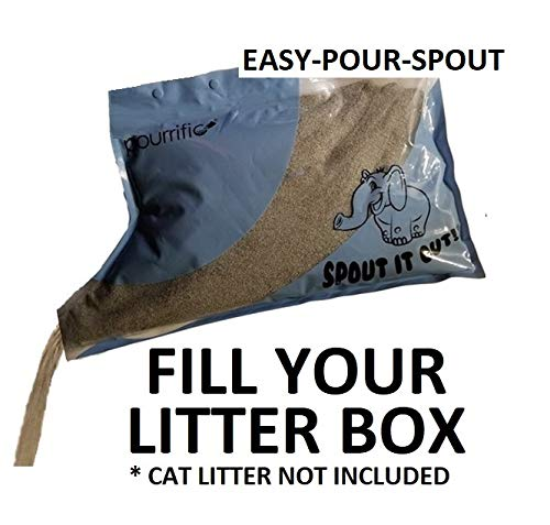 Easy-to-Pour Reusable Bag with Built-in Spout! Fill Your Cat Litter Box or Rabbit Litter Pan Evenly & Precisely! Easy Refill, Resealable and Portable Bag, 10 LB Capacity. -