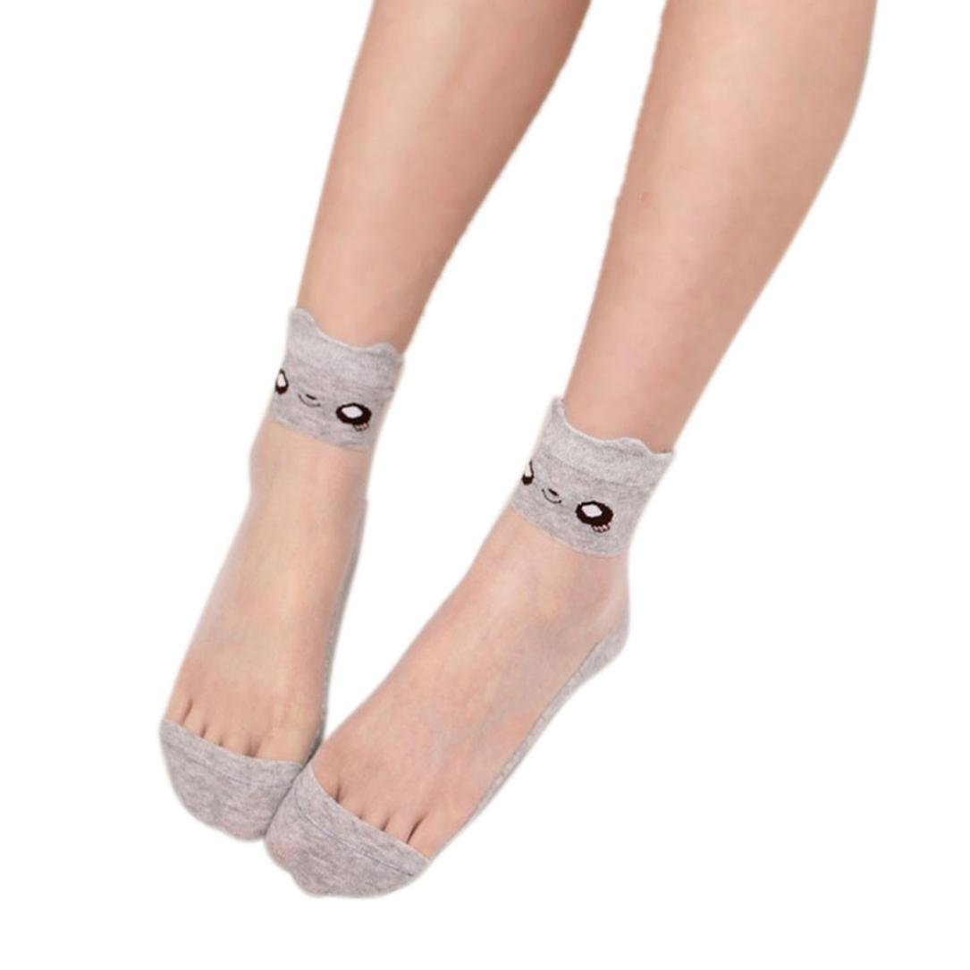 Tenworld Women Ultrathin Transparent Beautiful Crystal Lace Elastic Short Socks Tenworld-socks