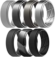 ThunderFit Silicone Wedding Rings for Men Breathable Airflow Inner Grooves - Step Edge Sleek Design Breathable