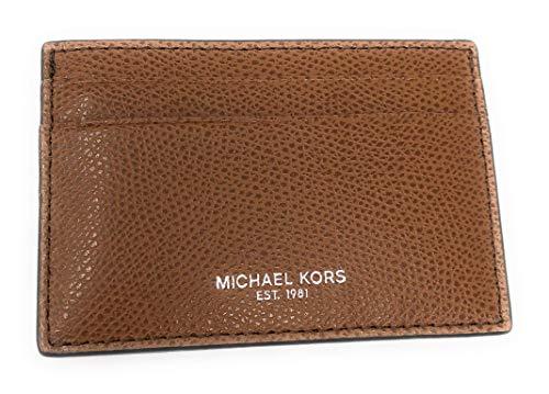 Michael Kors Men's Warren Leather Card Case Money Clip Mini Wallet Luggage