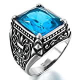 Epinki,Fashion Jewelry Men's Stainless Steel Glass Rings Silver Black Blue Claw Knight Fleur De Lis Gothic Size 10