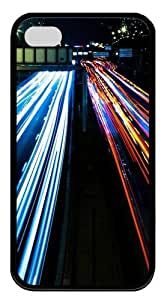 Highway Lights Custom Designer TPU Silicone Case Cover for iPhone 4/4S ¡§CBlack