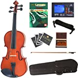 Cecilio CVN-100 Solid Wood Student Violin with Tuner and Lesson Book, Size 1/8
