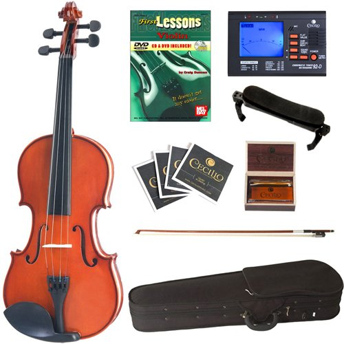 Cecilio CVN-100 Solid Wood Student Violin with Tuner and Lesson Book, Size 1/8 by Cecilio