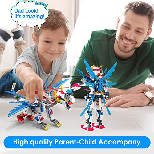 Robot STEM Building Toys Kit - Building Blocks 2-in-1 Toys, Creative Games & Fun Activity, Educational Kids Toys Gift for 6 7 8 9 10 11 12 Year Old Boys (244 PCS)