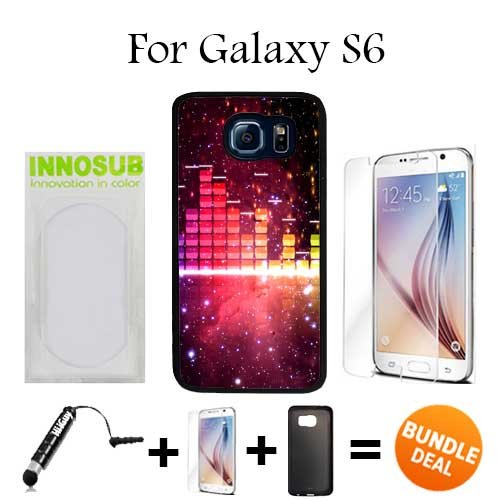 Nebula Music Visualizer Custom Galaxy S6 Cases-Black-Plastic,Bundle 3in1 Comes with HD Tempered Glass/Universal Stylus Pen by - Visualizer Glasses