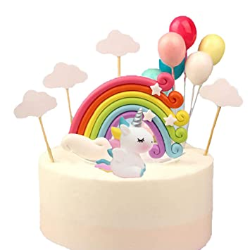 YEZIDE Unicornio Rainbow Cloud Cake Topper Little Ball ...