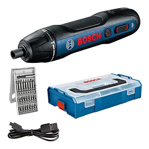 Bosch Professional Atornillador a batería Bosch GO (incl. juego de 25 puntas, cable de carga USB, L-BOXX Mini) - Amazon Edición
