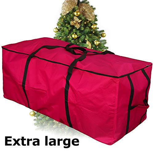 MelonBoat Waterproof Oxford Cloth Red Christmas Tree Storage Bag, Extra Large for 5'-9' Artificial Trees