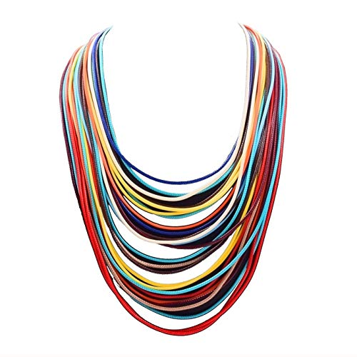 - Women Multi Layer Chunky Bib Necklace Magnetic Clasp Wax Line Choker Statement Jewelry (Multicolor)