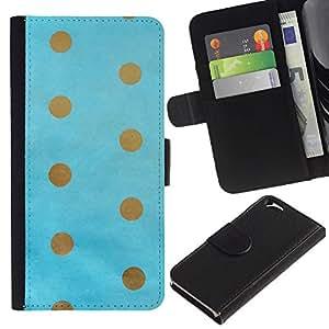 KLONGSHOP // Tirón de la caja Cartera de cuero con ranuras para tarjetas - Punto de oro del bebé de Brown azul minimalista - Apple Iphone 6 //