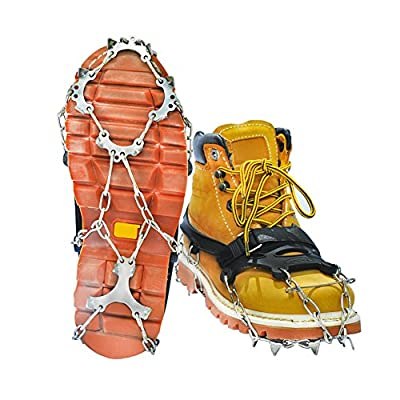 RENHAIGY Crampons Traction Ice Axe Snow Cleats Grips with Anti Slip Stainless Steel Spikes Microspikes Rock Climbing Fishing Hiking Camping Winter Mountaineering Shoes Boots Gear Men Women