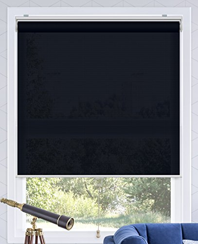 CHICOLOGY Snap-N'-Glide Cordless Roller Shades Smooth Privacy Window Blind, 31' W X 72' H, Urban Dark Blue (Light Filtering)