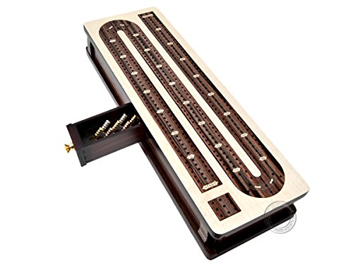 House of Cribbage - Continuous Cribbage Board / Box inlaid Rosewood 3 Tracks on Maple Board 12