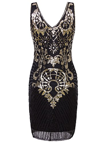 Vijiv 1920s Short Prom Dresses V Neck Inspired Sequins ...
