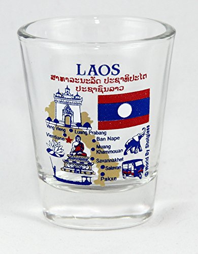 Laos Landmarks and Icons Collage Shot Glass
