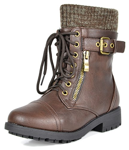 Girl Combat Boots - DREAM PAIRS Little Kid Amazon-K Brown