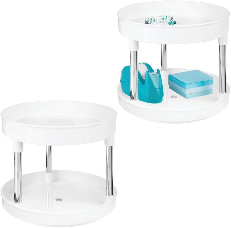 mDesign Plastic Spinning 2 Tier Lazy Susan Turntable Storage Tray - Rotating Organizer for Desktop, Drawer, Home Office Supplies, Erasers, Tape, Notepads, Colored Pencils - 2 Pack - White/Chrome