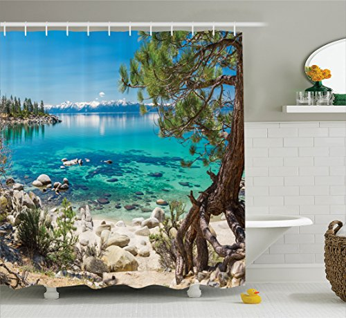 Room Decorations Shower Curtain Set By Ambesonne, Lake Tahoe Snowy Mountain Reflection On Clear Water Rocky Shore Romantic View, Bathroom Accessories, 84 Inches Extralong