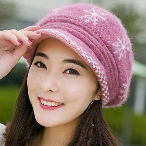 1d33fc26d79 AutumnFall Women Girls Fluffy Knit Hat Crochet Winter Warm Snow Cap with  Visor (Pink)