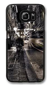 Gray City Night View Polycarbonate Hard Case Cover for Samsung S6/Samsung Galaxy S6 Black