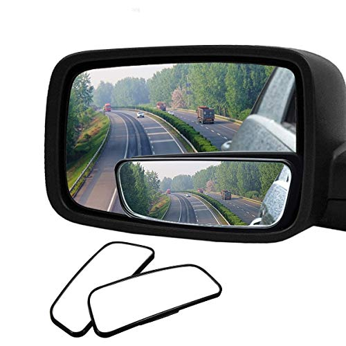 (Audew 2 Pack Square Blind Spot Mirror 360° ABS Glass for All Universal Vehicles Car Fit Stick-on Design)