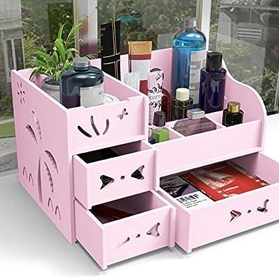 DIY Escritorio de madera de maquillaje Organizador Cosméticos ...
