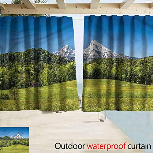 Beihai1Sun Sliding Door Curtain Germany Bavarian Alps Village Darkening Thermal Insulated Blackout W55x63L Inches ()