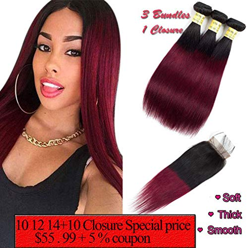 Ombre Hair 1B/99J Burgundy Straight Hair Bundles with 4x4 Lace Closure Human Brazilian Virgin Hair Sew in Hair Extensions (12