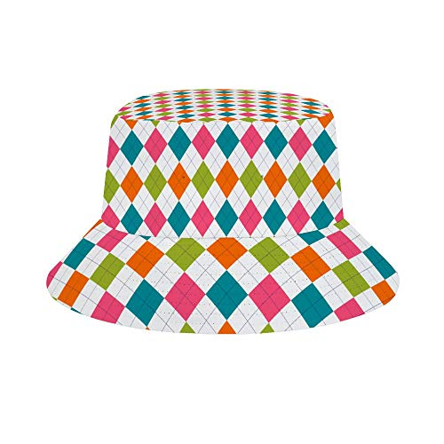(Mesllings Multicolored Argyle Fill Unisex Print Bucket Hat Fashion Travel Sun Cap Fishman Hat )
