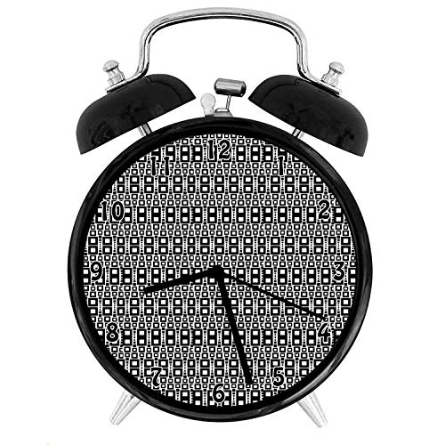 22yiihannz Monochrome Squares of Many s Motif with Grid Geometric Rows,Battery Operated Quartz Ring Alarm Clock for Home,Office,Bedroom, White_4inch