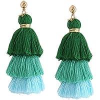 Iuhan Charming Three Color Tassel Hook Fringe Boho Dangle Drop Earrings Women Jewelry (E)