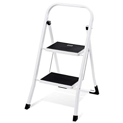 Delxo 2 Step Step Stool for Adult, Folding Metal Step Ladder with Handgrip & Anti-Slip Sturdy and Wide Pedal, Multi-Use for Household & Office, Portable Handle Step Stool 300lbs (Steel): Kitchen & Dining