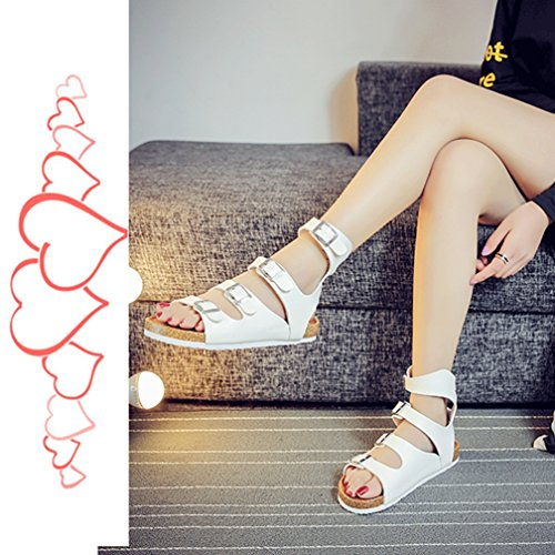 Unisex-Adult Roman Sandals Open-Toe Flat Cork Beach Shoes With Ankle Strap White WBIts