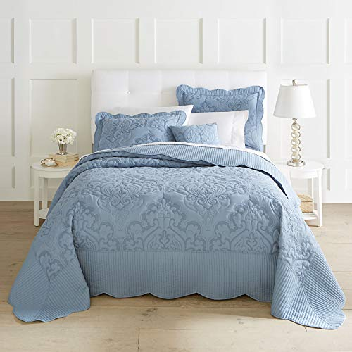 BrylaneHome Amelia Bedspread - Ashley Blue, King (Quilted Thick Bedspreads)