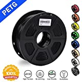 SUNLU 1.75mm PETG Black 3D Printer Filament, Dimensional Accuracy +/- 0.02mm, 2.2 LBS (1KG) Spool,1.75 mm PLA 3D Filament for Most 3D Printer & 3D Printing Pen, PETG Black