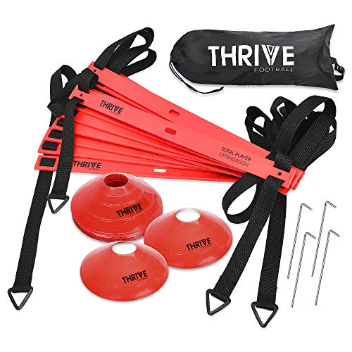 Thrive Football Speed and Agility Training Set for Soccer 15 Foot 12 Rung Agility Speed Ladder, 12 Training Cones, 4 Metal Stakes, and Carrying Bag - Ultimate Training Kit to Boost Fitness Levels (Best Looking College Football Players)