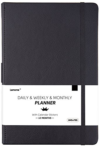 "Undated Daily/Monthly Planner + Calendar Stickers and Monthly & Weekly to-DO List to Improve Productivity, 5.75"" x 8.25"", Premium Thick Paper, Pen Holder, Inner Pocket, 12 Months Guarantee, Gift Box"