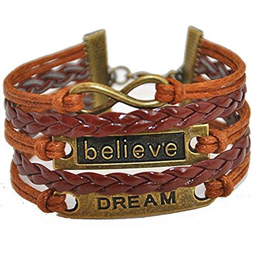 Friendship 36 Bracelets (Ac Union Handmade Believe Dream Charm for Friendship Gift - Fashion Personalized Leather Bracelet - Brown)