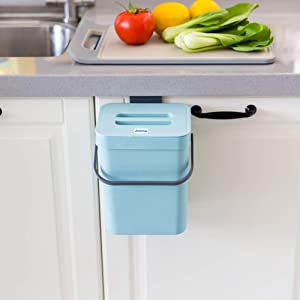 Small Compost Bin with Lid Blue Plastic Waste Basket 5 L/ 1.3 Gallons Mountable Compost Bucket Hanging Waste Bin for Office,Dog poop Waste Compost Bin for Kitchen Trash Can Garbage Bin for Bedroom